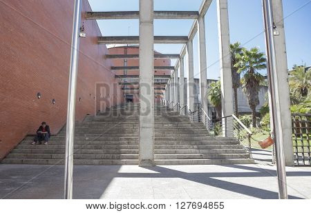 Badajoz Spain - April 1: MEIAC Museum building on April 1 2016 in Badajoz Spain. Situated on the area of the former prison of Badajoz redesigned by JA Galea