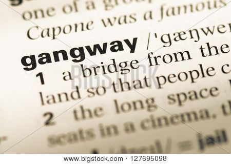 Close Up Of Old English Dictionary Page With Word Gangway.
