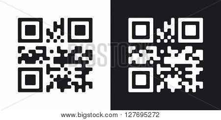 QR Code vector icon. Two-tone version on black and white background