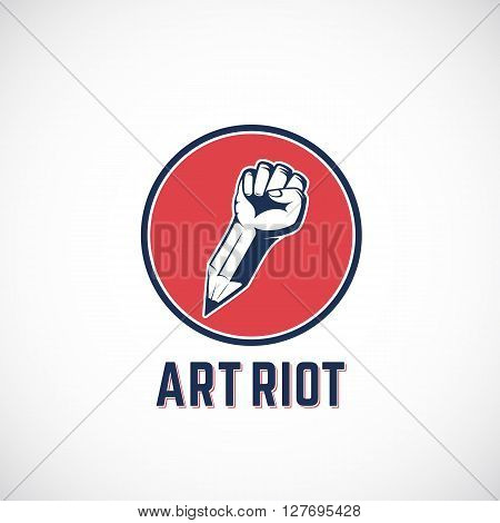 Art Riot Abstract Vector Sign, Symbol, Icon or Logo Template. Rebel Fist Mixed with a Pencil Concept in Red Circle. Stylized Revolution Hand. Isolated.