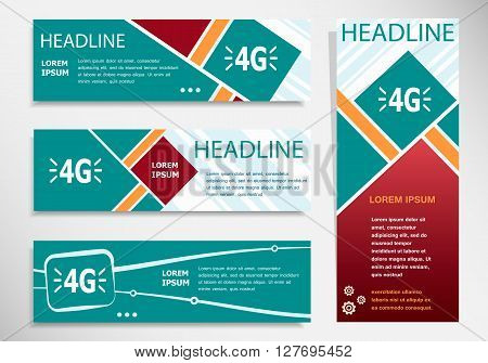 4G Sign Icon On Horizontal And Vertical Banner.