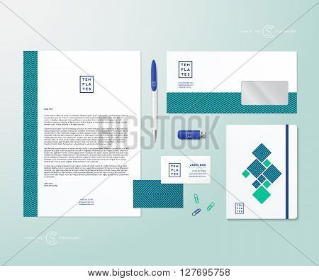 Creative Geometry Green and Blue Realistic Vector Stationary Set with Soft Shadows. Good as Template or Mock Up for Business Identity. Isolated.