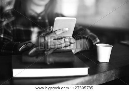 Girl Checkered Shirt Mobile Phone Cafe Concept
