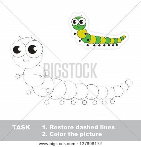 Green millipede in vector to be traced. Restore dashed line and color the picture. Trace game for children.