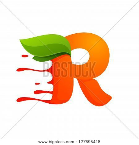 R Letter With Orange Juice Drops And Leaves.