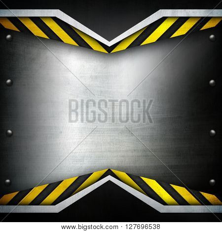 metal template with warning stripe background