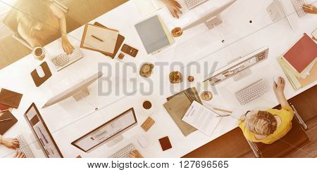 Business People Using Computer Working Concept