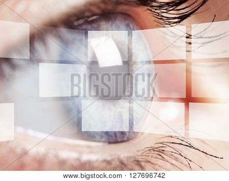 Hologram on eye.
