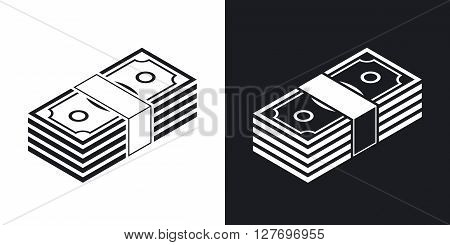 Bundle of dollars vector icon. Two-tone version on black and white background