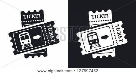 Train tickets icon stock vector. Two-tone version on black and white background