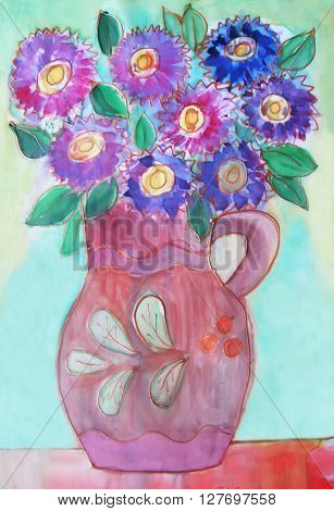 Watercolor drawing Batik. Vase with of a bouquet Flowers