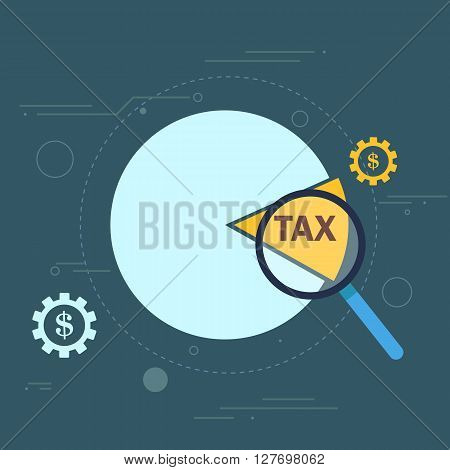 Tax cut pie graph conceptual illustration design