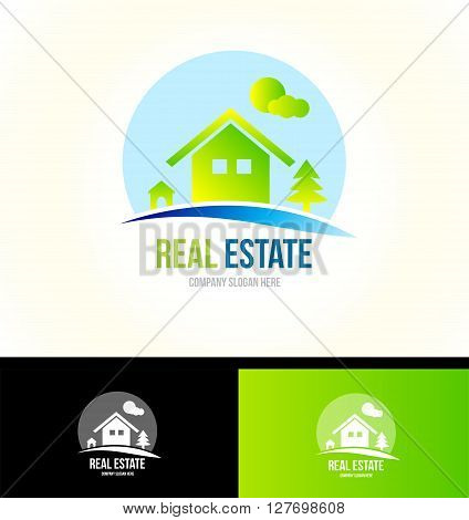 Vector company logo icon element template real estate house mountain cabin property residential