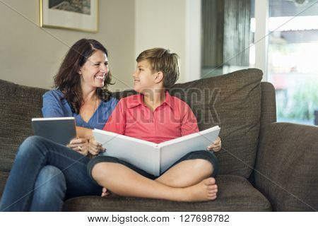 Mom Son Vacation Together Relax Concept
