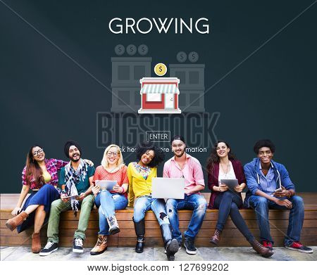 Growing Launch Startup New Business Concept