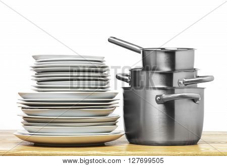Stainless Steel pots isolated on a white background