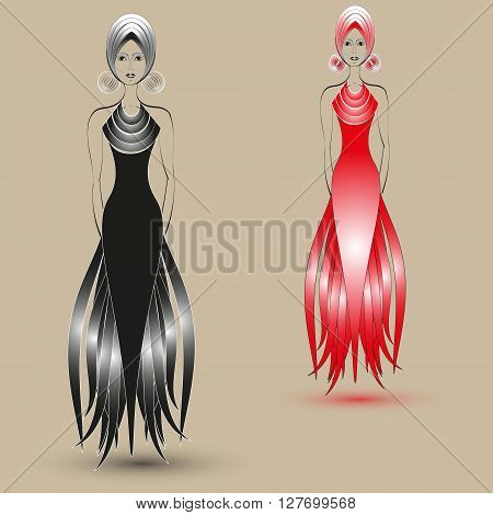 Illustration of two fashion dresses Illustration fashion world exclusive black and red dress on pastel background for decoration and design