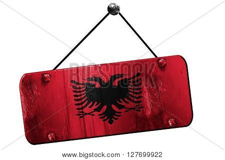 Albania flag, 3D rendering, grunge old sign on a rope