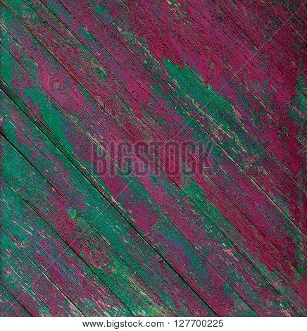 Old wooden painted rustic pink and green fence paint peeling background ** Note: Visible grain at 100%, best at smaller sizes