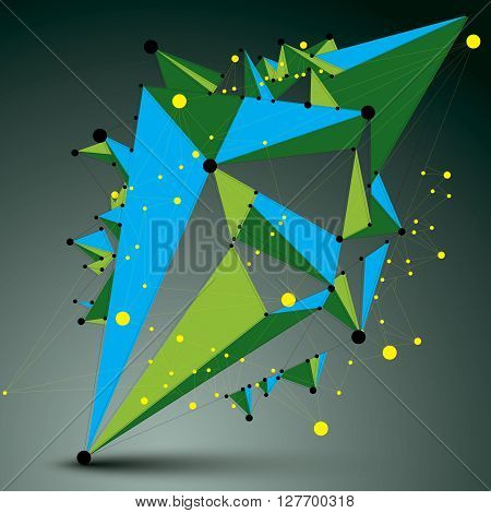 Geometric Abstract 3D Complicated Lattice Object, Vector Colorful Asymmetric Element With Wireframe