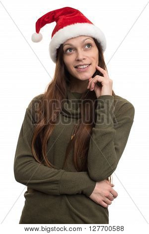 Thinking Woman Wearing Santa Hat