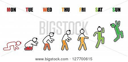 Abstract working life cycle from Monday to Sunday concept in stick figure and battery style on white background