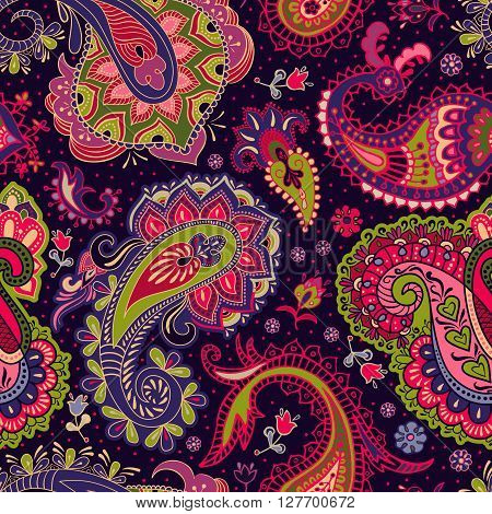 Paisley floral seamless pattern. Colorful seamless pattern