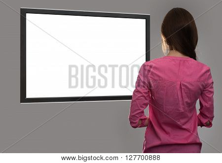 Woman Looking At Blank Tv Screen