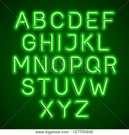 Neon light glowing alphabet. Vector illustration.