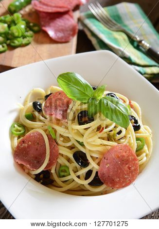 Spaghtti With Jalapeno Peppers, Black Olives And Salami Pepperoni