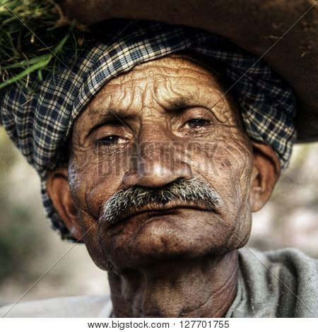 Indigenous Senior Indian Man Grumpy Close-Up Concept