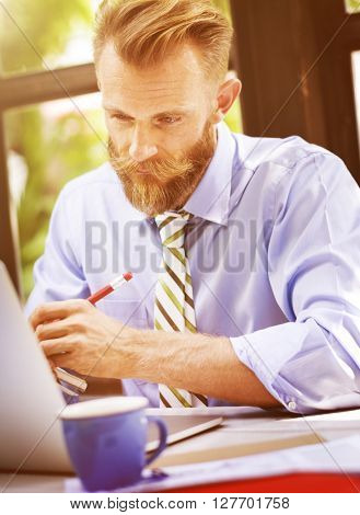 Business Man Working Documents Office Concept