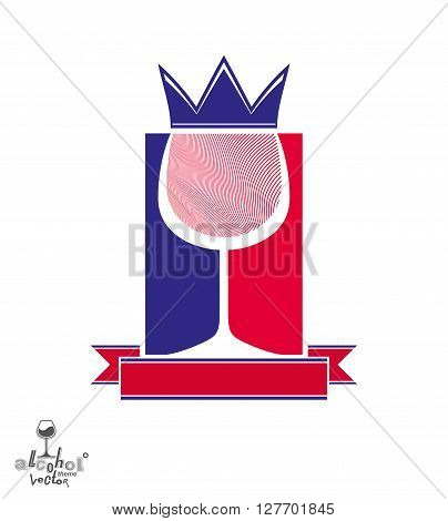 Royal decorative symbol with monarch crown and curved ribbon art goblet best for use in graphic design. Imperial coat of arms
