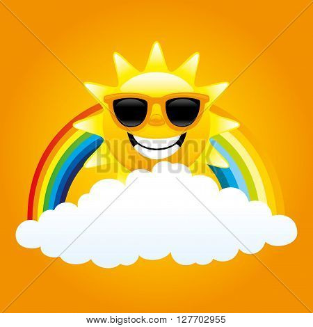 Cheerful sun, cloud and rainbow on the orange background.