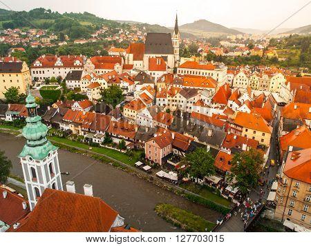 Aerial view of Cesky Krumlov and Vltava river from castle, Czech Republic
