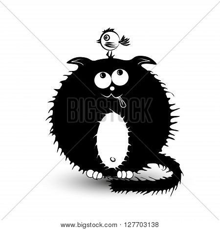 Illustration of a black fat cat and the bird Fat black cat with a white belly hunts small bird