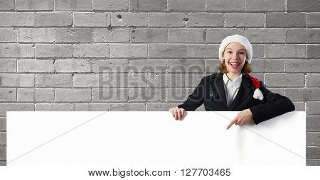 Santa woman with banner