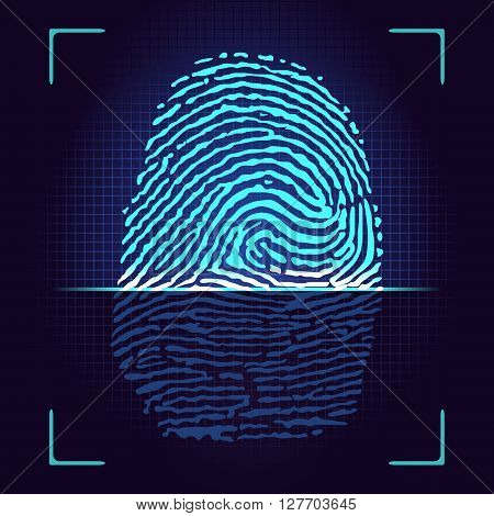 Fingerprint scanner,identification system.Vector ilustration,on a blac bacgraund.