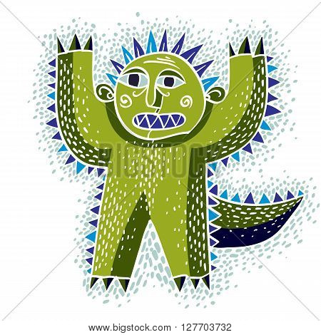 Vector Cool Cartoon Scared Green Monster, Simple Weird Creature. Clipart Mythic Character For Use In