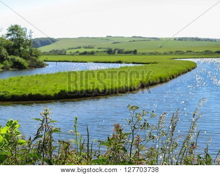Seven Sisters National Park and Cuckmere river. East Sussex England. Selective focus