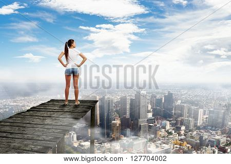 Viewing modern city from top