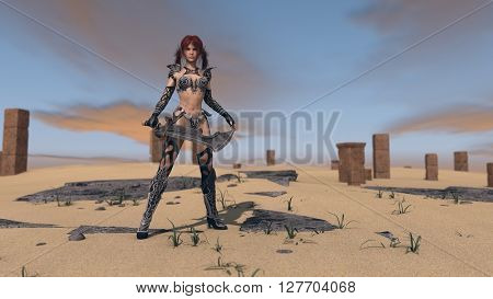 3d illustration of a fantasy warrior woman