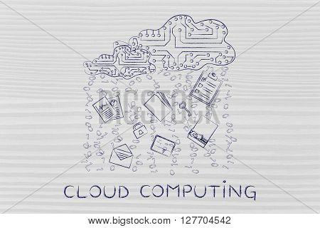 Electronic Circuit Cloud With Document Rain, Cloud Computing