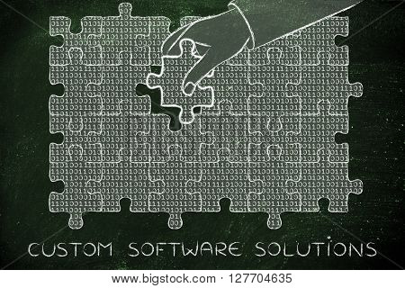 Hand With Missing Puzzle Piece With Binary Code, Custom Solutons