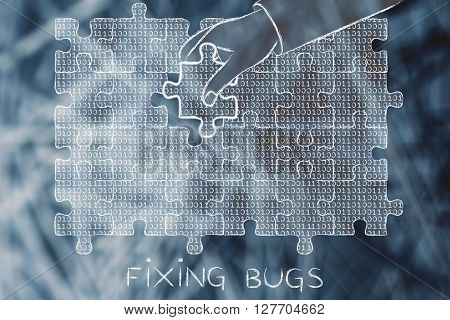 Hand With Missing Puzzle Piece With Binary Code, Fixing Bugs
