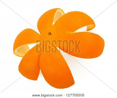 orange peel isolated on white background