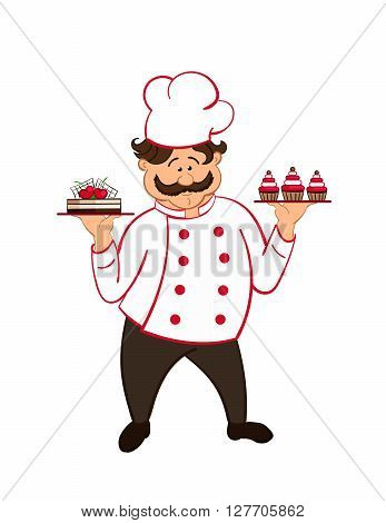 happy fat confectioner with  chocolate cakes with cherry. vector.  isolated.