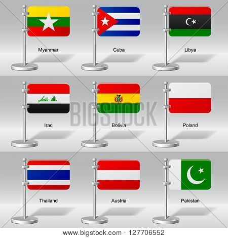 Vector set of world table flags. Transparent drop shadow. Contains the Clipping Path. 3D illustration