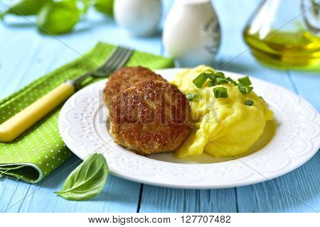 Fish Citlets Garnished With Potato Puree.