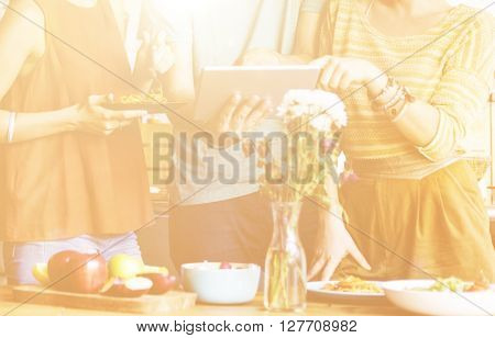 Friendship Togetherness Food Digital Tablet Technology Concept